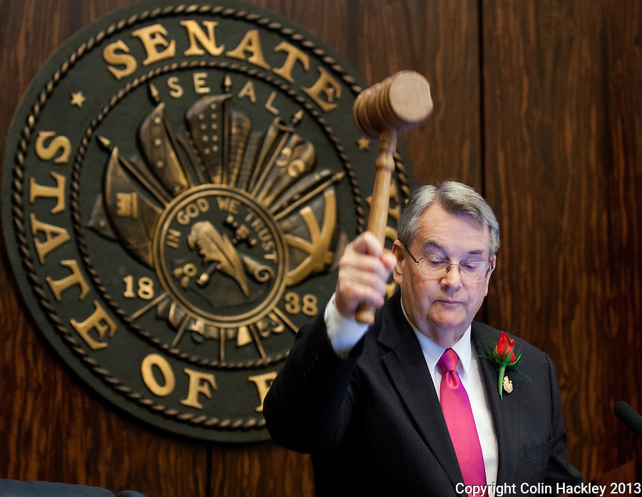 TALLAHASSEE, FLA. 3/5/13-OPENING030513CH-Senate President. Don Gaetz, R-Niceville, gavels the Senate to order during the opening day of the 2013 legislative session Tuesday at the Capitol in Tallahassee, Fla...COLIN HACKLEY PHOTO