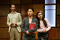 """""""CHINGLISH, by David Henry Hwang, opens at the Park Theatre. Directed by Andrew Keates, with lighting design by Christopher Nairne and set and costume design by Tim McQuillen-Wright. Picture shows:  Duncan Harte (Peter Timms), Candy Ma (Xi Yan), Siu-see Hung (Qian)"""