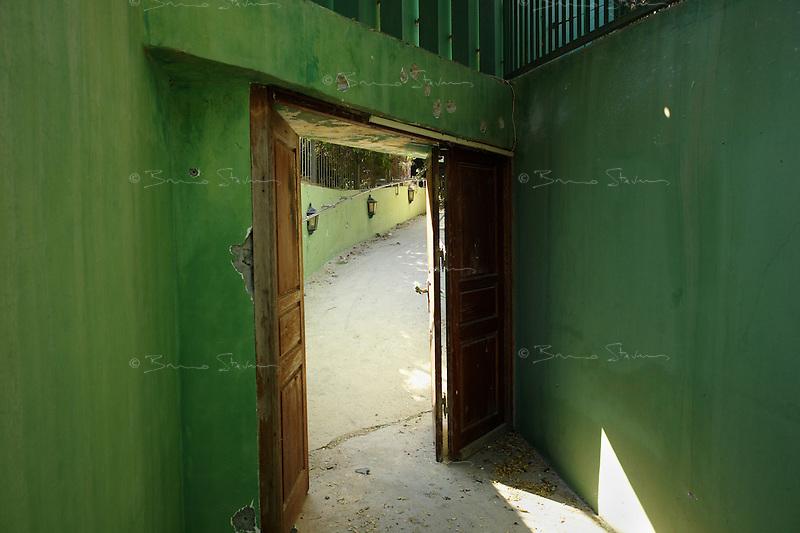 Tripoli, Libya, August 26, 2011.Khaddafi personal quarters in the Bab Aziziya  compound: private entrance..