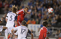 Santa Clara, Ca - Saturday, March 15, 2014: The San Jose Earthquakes tied Real Salt Lake 3-3 in stoppage time at Buck Shaw Stadium. Victor Bernardez scores his first goal.