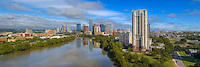 This panorama captures the view high above Lady Bird Lake and looks at the ever-growing downtown Austin skyline.