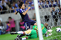 Ryoichi Maeda (JPN),.JUNE 3, 2012 - Football / Soccer :.Ryoichi Maeda of Japan scores his team's second goal past goalkeeper Ali Al-Habsi of Oman during the 2014 FIFA World Cup Asian Qualifiers Final round Group B match between Japan 3-0 Oman at Saitama Stadium 2002 in Saitama, Japan. (Photo by Takahisa Hirano/AFLO)