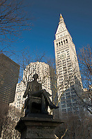 Statue of William Henry Seward in Madison Square Park in New York City, New York, by Randolph Rogers, Met LIfe Tower designed by Napoleon LeBrun