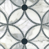 Esferas, a handmade mosaic shown in honed Calacatta, polished Bardiglio and Power Gray glass. Designed by Paul Schatz for New Ravenna.<br />
