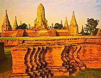 Wat Chaiwatthanaram, Ancient Bhuddist Temple at Ayuthaya Historical Park - Established by Thai King Prasatthong, near Bangkok, Thailand
