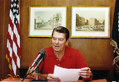 United States President Ronald Reagan gives his weekly radio address to the nation from Camp David, near Thurmont, Maryland, on Saturday, September 4, 1982 .Mandatory Credit: Jack Kightlinger - White House via CNP