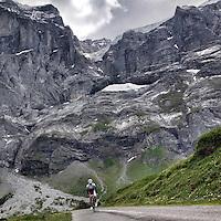 Ascending Grosse Scheidegg, Graübunden, Switzerland. Grosse Scheidegg is a high mountain pass in the Bernese Oberland, connecting Grindelwald and Meiringen. The pass lies between the Schwarzhorn and the Wetterhorn. The road over the pass is open only to bus traffic.