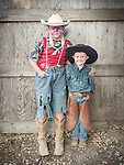 Opening day 78th Amador County Fair, Plymouth, Calif.<br /> <br /> Mutton Bustin' <br /> <br /> Brothers Cade (clown) and Bradley White