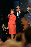 New York, NY, USA, 20040902: The Republican National Convention in Madison Square Garden. President George W. Bush delivers his acceptance speach after being officially nominated as the Republican Presidential Candidate for the 2004 Election. First Lady Bush joined him on stage after the speach.