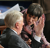 Washington, DC - March 4, 2009 -- United States House Majority Leader Steny Hoyer (Democrat of Maryland), left, shares some thoughts with U.S. Rep. Rosa DeLauro (Democrat of Connecticut), right, on the floor of the U.S. House of Representatives as they await the arrival of Prime Minister Gordon Brown of the United Kingdom who will address a Joint Session of the United States Congress in the U.S. Capitol in Washington, D.C. on Wednesday, March 4, 2009..Credit: Ron Sachs / CNP