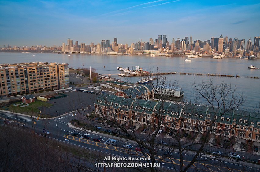 Port and piers in Hudson river in upper Manhattan as seen from Weehawken, New Jersey