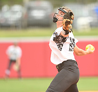NWA Democrat-Gazette/J.T. WAMPLER Bentonville's Madison Prough pitches against North Little Rock Friday May 19, 2017 during the 7A State Championship game at Bogle Park in Fayetteville. Bentonville won 11-3.