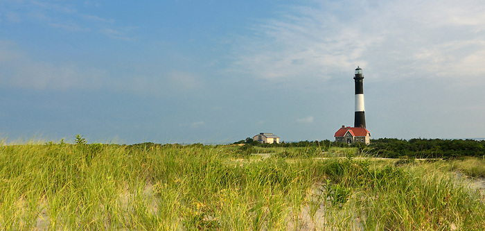 Fire Island Lighthouse at Dawn as Seen through the Grass on the Dunes