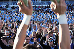 15 November 2014: UNC fans chant for the start of the fourth quarter. The University of North Carolina Tar Heels hosted the University of Pittsburgh Panthers at Kenan Memorial Stadium in Chapel Hill, North Carolina in a 2014 NCAA Division I College Football game. UNC won the game 40-35.