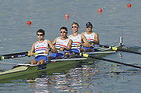 Brest, Belarus.  GBR LM4-. Bow, David JNES, Jonathan CLEGG, William FLETCHER, Jamie KIRKWOOD,  at the start.  2010. FISA U23 Championships. Friday,  23/07/2010.  [Mandatory Credit Peter Spurrier/ Intersport Images]