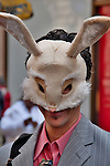 A man wears a bunny mask in the New York City Easter Parade