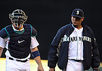 Seattle Mariners' pitcher Felix Hernandez left departs the bull pen with catcher Mike Zunino before their game against the Oakland Athletics in the first inning  September 13, 2014 at Safeco Field in Seattle.   The Athletics beat the Mariners 3-2 when Mariners pitcher Fernando Rodney  walked in Coco Crisp in the 10th inning.  ©2014. Jim Bryant Photo. All Rights Reserved.