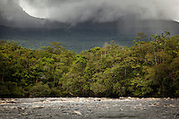Stormy skies over rapids on the Canaima River, near Angel Falls in Canaima National Park, Venezuela