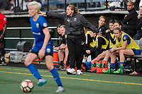 Seattle, WA - Sunday, May 21, 2017: Seattle Reign FC head coach Laura Harvey during a regular season National Women's Soccer League (NWSL) match between the Seattle Reign FC and the Orlando Pride at Memorial Stadium.