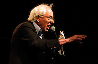 Vermont senator Bernie Sanders gives a speech on the Waterfront in Burlington, Vermont.