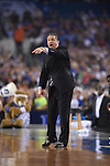 07 April 2014: Coach John Calipari, of the University of Kentucky takes on the University of Connecticut during the 2014 NCAA Men's DI Basketball Final Four Championship at AT&T Stadium in Arlington, TX. Connecticut defeated Kentucky 60-54 to win the national title. Peter Lockley/NCAA Photos