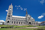 South America, Ecuador, Quito.  The Basilica del Voto Nacional, a neo-gothic basilica in Quito.