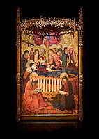 Gothic altarpiece of the Dormition of the Madonna (Dormicio de la Mare de Dieu) by Pere Garcia de Benavarri, circa 1460-1465, tempera and gold leaf on wood.  National Museum of Catalan Art, Barcelona, Spain, inv no: MNAC  64040. Against a black background.