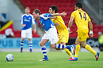 St Johnstone v Eskisehirspor...26.07.12  Europa League Qualifyer.Paddy Cregg fends off Alper Potuk.Picture by Graeme Hart..Copyright Perthshire Picture Agency.Tel: 01738 623350  Mobile: 07990 594431