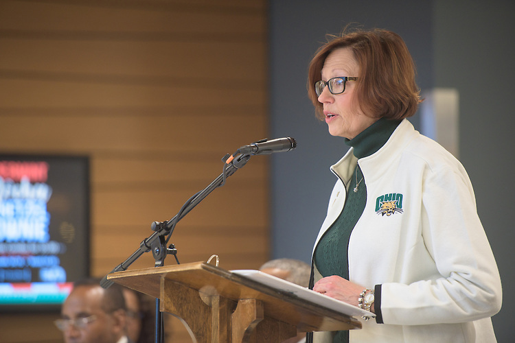 Linda Reed, Chair of the Dean's Circle of Engagement, addresses attendees of the ribbon cutting ceremony for the Gladys W. and David H. Patton College of Education's newly renovated McCracken Hall held on January 27, 2017.