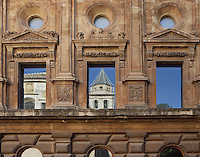 Detail of rectangular windows surmounted by round windows, Palace of Charles V, 16th Century, built by Pedro Machuca (1490 ? 1550), The Alhambra, Granada, Andalusia, Spain. Picture by Manuel Cohen