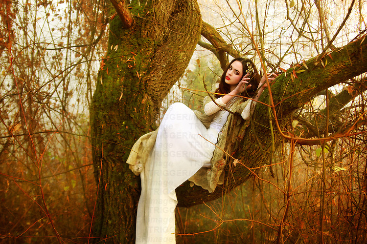 A pretty brunette in a white gown sitting on a tree in an autumnal forest.