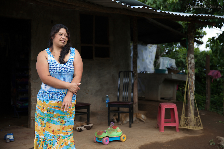 Blanca Delmi Ordóñez at her home in Teotepeque, La Libertad, El Salvador on June 9, 2015. Ordóñez gave birth in a latrine and she had not even known she was pregnant, although she already had a son. The baby was found dead in the latrine by firemen and authorities decided that this was murder. Ordóñez spent 11 months in prison. The case against her was finally dismissed. Abortion in El Salvador is illegal. The law formerly permitted an abortion to be performed under some limited circumstances, but, in 1998, all exceptions were removed when a new abortion law went into effect. Photo by Bénédicte Desrus