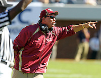 Oct 2, 2010; Charlottesville, VA, USA; Florida State Seminole head coach Jimbo Fisher reacts to a call during the 2nd half of the game against the Virginia Cavaliers at Scott Stadium. Florida State won 34-14.  Photo/The Daily Progress/Andrew Shurtleff