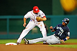 21 June 2011: Washington Nationals second baseman Danny Espinosa is unable to get a sliding Franklin Gutierrez out at second during play against the Seattle Mariners at Nationals Park in Washington, District of Columbia. The Nationals rallied from a 5-1 deficit, scoring 5 runs in the bottom of the 9th, to defeat the Mariners 6-5 in inter-league play. Mandatory Credit: Ed Wolfstein Photo