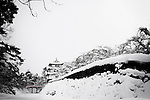 Photo shows Hirosaki Castle blanketed in snow in Hirosaki, Aomori Prefecture, Japan on 18 Jan. 2013. Photo: Robert Gilhooly..