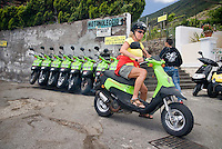 Salina, Eolian Islands, Italy, June 2006. Renting a scooter is the fastest way to see the islands.  The Volcanic Eolian Islands of Southern Italy offer a spectacular landscape for trekking while staying in picturesque towns. Photo by Frits Meyst/Adventure4ever.com