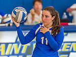 18 October 2015: Yeshiva University Maccabee Setter, Defensive Specialist, and team co-Captain Aliza Muller, a Senior from Los Angeles, CA, warms up prior to a game against the College of Mount Saint Vincent Dolphins at the Peter Sharp Center, in Riverdale, NY. The Dolphins defeated the Maccabees 3-0 in the NCAA Division III Women's Volleyball Skyline matchup. Mandatory Credit: Ed Wolfstein Photo *** RAW (NEF) Image File Available ***