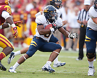 September 22, 2012: California's Brendan Bigelow scrambles to find open lane during a game against USC at the Los Angeles Memorial Coliseum, Los Angeles, Ca  USC defeated California 27- 9