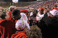 Nov 13, 2010; Charlottesville, VA, USA;  Maryland Terrapins linebacker Adrian Moten (1) celebrates with the fans after beating the Virginia Cavaliers 42-23 at Scott Stadium.  Mandatory Credit: Andrew Shurtleff-