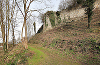 Ramparts and Tower number 9, seen from a footpath leading up to the medieval castle of Chateau-Thierry, Picardy, France. The first fortifications on this spur over the river Marne date from the 4th century and the first castle was built in the 9th century Merovingian period by the counts of Vermandois. Thibaud II enlarged the castle in the 12th century and built the Tour Thibaud, and Thibaud IV expanded it significantly in the 13th century to include 17 defensive towers in the walls and an East and South gate. The castle was largely destroyed in the French Revolution after having been a royal palace since 1285. In 1814 it was used as a citadel for Napoleonic troops. Picture by Manuel Cohen