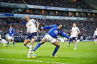 BOLTON, ENGLAND - Saturday, January 26, 2013: Everton's Victor Anichebe in action against Bolton Wanderers' Zat Knight during the FA Cup 4th Round match at the Reebok Stadium. (Pic by David Rawcliffe/Propaganda)