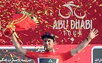 Mark Cavendish (GBR) Team Dimension Data wins Stage 1 Emirates Motor Company Stage and wears the race leaders Red Jersey on the podium of the 2017 Abu Dhabi Tour, running 189km from Madinat Zayed through the desert and back to Madinat Zayed, Abu Dhabi. 23rd February 2017<br /> Picture: ANSA/Matteo Bazzi | Newsfile<br /> <br /> <br /> All photos usage must carry mandatory copyright credit (&copy; Newsfile | ANSA)