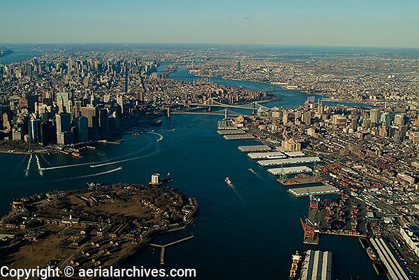 aerial photograph East River, Governor's Island, Brooklyn, Manhattan, New York City