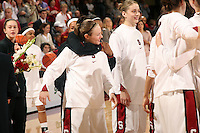 25 February 2007: Clare Bodensteiner is hugged by Candice Wiggins after Stanford's 56-53 win over USC at Maples Pavilion in Stanford, CA.