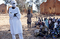 Sudan. South Sudan. Bahr El Ghazal. Mayen Abun. Muslim arab trader with dinka slaves to be bought back by Christian Solidarity International (CSI). © 1999 Didier Ruef