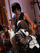 """Guitarist Jeff Beck greets Blues legend B.B. King at a performance with an all-star cast at a White House event titled In Performance at the White House: Red, White and Blues, February 21, 2012 in Washington, DC.  As part of the In Perfomance series, music legends and contemporary major artists have been invited to perform at  the White House for a celebration of Blues music and in recognition of Black History Month. The program featured performances by Troy """"Trombone Shorty"""" Andrews, Gary Clark, Jr., Shemekia Copeland, Buddy Guy, Warren Haynes, Mick Jagger, Keb Mo, Susan Tedeschi and Derek Trucks, with Taraji P. Henson as the program host and Booker T. Jones as music director and band leader. .Credit: Win McNamee / Pool via CNP"""