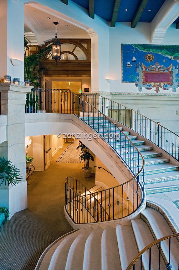 Casa Del Mar, Santa Monica CA, Beachfront Hotel,Interior,  Marble Spiral Stairway
