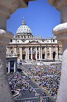 Pope Francis  leads a mass in St Peter's square for the canonization of four blessed nuns, whose two lived in Ottoman Palestine, on May 17, 2015 in Vatican. Pope Francis will declare four nuns as Saints today, two nuns from Palestine St Marie Alphonsine Ghattas from Jerusalem and St Mariam Bawardy from Ibilin village in the Galilee, both of whom lived in the 19th century, St Emilie de Villeneuve from France and St Maria Cristina of the Immaculate Conception from Italy