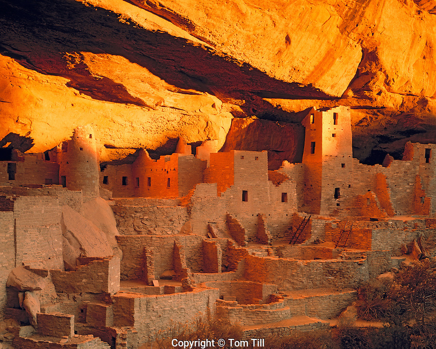 Cliff Palace in winter solstice light, Mesa Verde National Park, Colorado   Largest cliff dwelling in America  Ancient Ancestral Puebloan