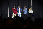 """(Left to right) Mulai Kamara, an electrical engineering student; De'Vaugn Williams, a communication studies and music production student' Jay Boamah, an undecided psychology student; and Jasmine, an undecided student; sing at the  Black Student Cultural Programming Board's talent showcase """"Apollo Night's Best"""" on Friday, Feb. 5, 2016. The quartet won the talent showcase. Photo by Kaitlin Owens"""